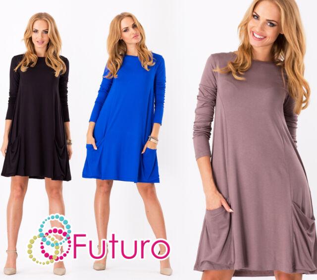 Women's Shift Dress With Pockets Crew Neck Long Sleeve Tunic Sizes 8-18 8547