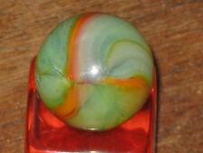 SPLENDED GREEN & ORANGE OPAL VINTAGE PELTIER GLASS MARBLE MARBLES MINT