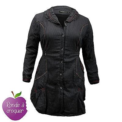 Grande taille - Manteau redingote tissu alvéolé original L33 46 48 50 52 54 56