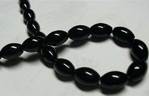 8x12mm-Black-Agate-Onyx-Gemstone-Rice-Loose-Bead-15-039-039