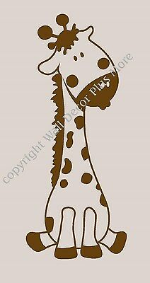 "Baby Giraffe Wall Vinyl Sticker Decal Removable Nursery Room 24""x10"" NEW Jungle"