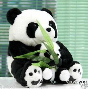 "Cute 25cm/10"" PANDA Bears Mom&Baby Stuffed Animal Plush Soft Toy w/Silk Bamboo"