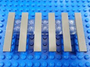 finishing tile, no studs 6X LEGO lot of SIX 1x8 TILES color=WHITE part# 4162