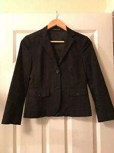 Theory-Womens-Black-Blazer-Sz-2-Long-Sleeve-Cotton-Jacket-Top
