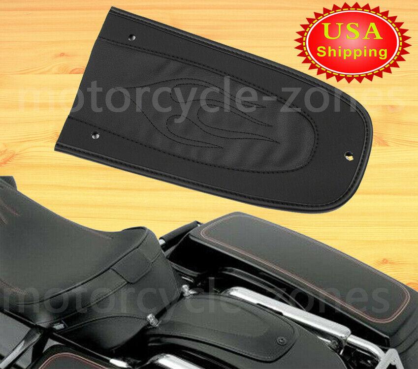 PU Leather Black Flame Rear Seat Fender Bib For Harley Davidson Touring Ultra Limited,Electra Glide Road Glide Road Kin