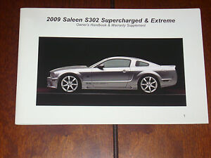 2009 saleen owners manual s302 supercharged extreme handbook ford rh ebay com Owner's Manual Owner's Manual