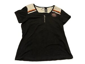 Harley-Davidson Women's Short Sleeve 1/4 Zip Up Garage Shirt Size XL
