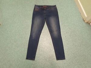 George-Skinny-Jeans-Size-12-Leg-30-034-Faded-Dark-Blue-Ladies-Jeans