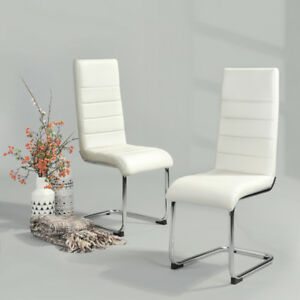 Image Is Loading Set Of 2 White Pu Leather High Back