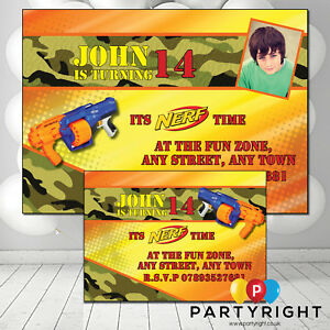 Details About Personalised Nerf Wars Birthday Party Invitations Invites With Or Without Photo