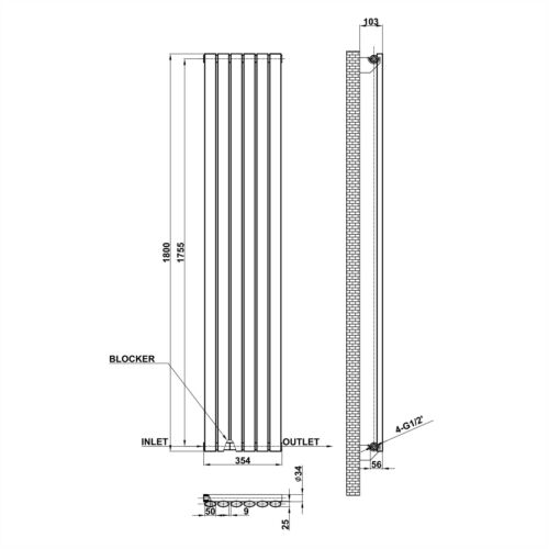 Horizontal Vertical Oval Column Designer Radiator With Free Valves All Colours