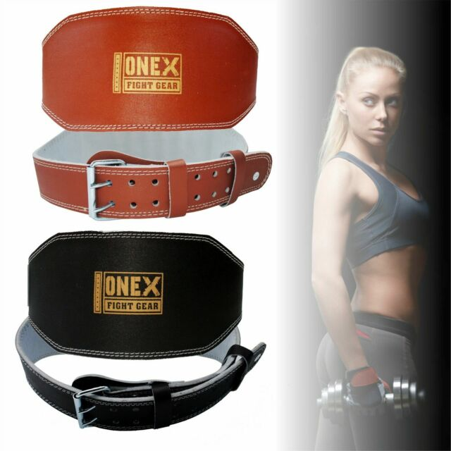 """Weight Lifting 6/"""" Nubuck Leather Belt Back Support Strap Gym Training Power"""