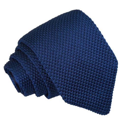 DQT Knit Tricot plaine Solid Navy Blue Casual Homme Cravate Slim