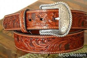 Nocona-Western-Mens-Belt-Leather-Tooled-Floral-N2446008