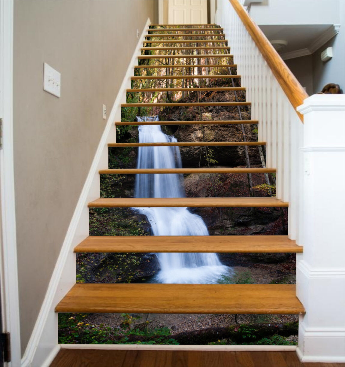 3D Wald Strom 6944 Stair Risers Dekoration Fototapete Vinyl Aufkleber Tapete DE