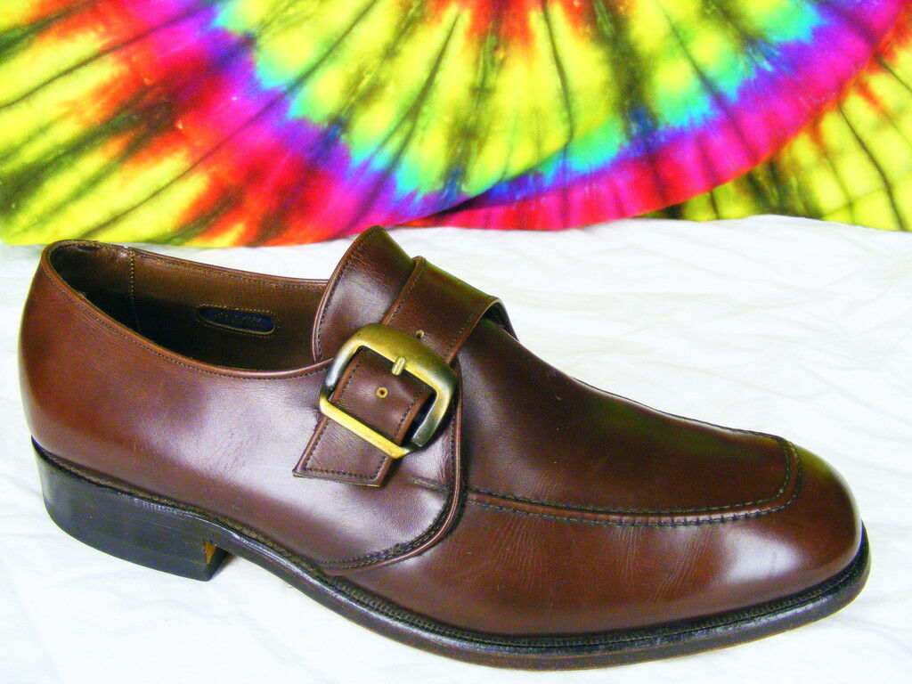 sz 8.5 D brown ALLEN EDMONDS Milan buckle loafers shoes Scarpe classiche da uomo
