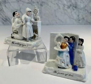 Pair Antique Victorian Fairings Power of Love Wedding NIght British Humor 19thC