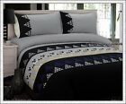 280TC Black Grey Yellow Navy Panel Embroidery 3pc QUEEN QUILT / DOONA COVER SET