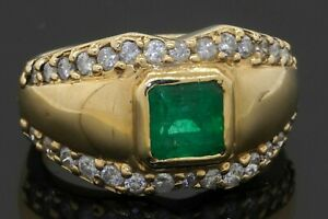 Designer heavy 14K gold 1.90CTW diamond/5.6mm emerald cocktail ring size 6.75