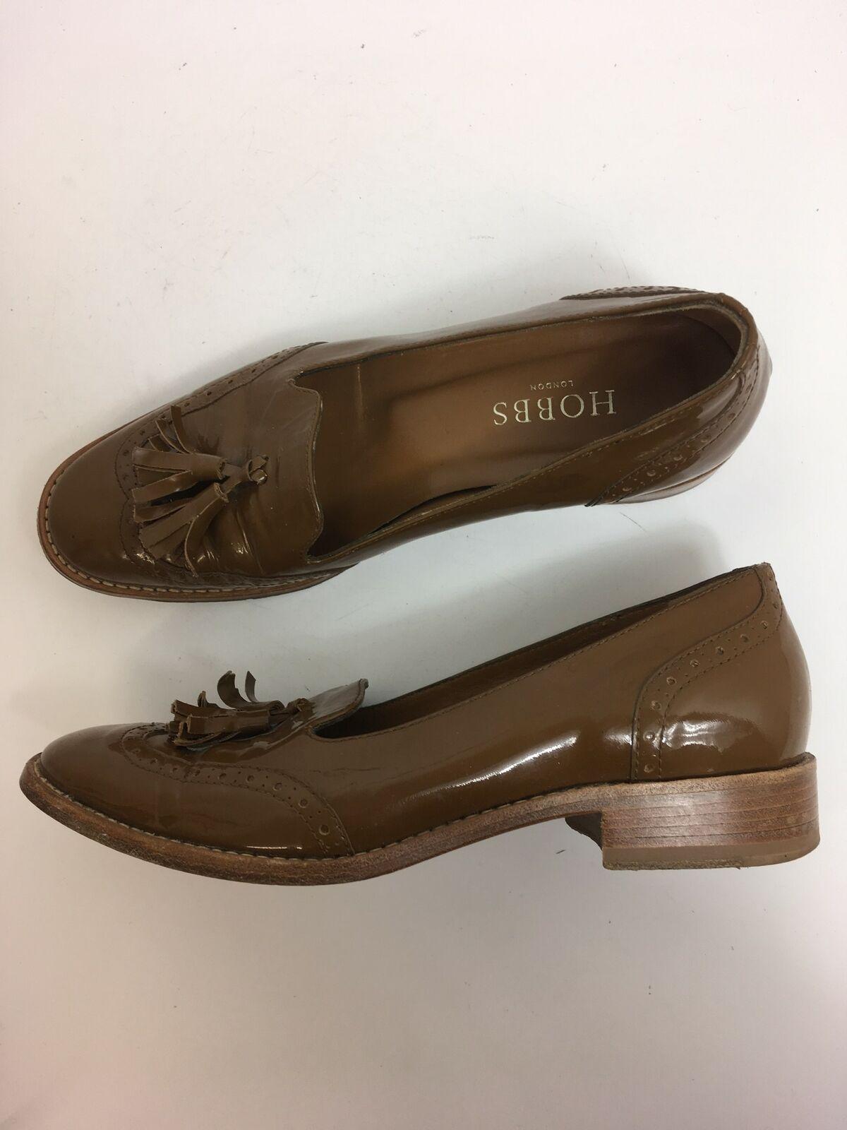 Para mujer Hobbs Marrón Charol Resbalón en Zapatos Taco de Bloque Borlas inteligente UK 3