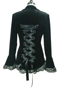 velluto finiture velluto Giacca 1x gotico nero corsetto con vittoriano in in 6UppTxqaH