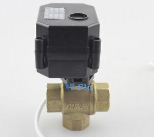 New-1-2-034-3-Way-T-Port-Brass-Motorized-Ball-Valve-DC5V-12V-Electrical-Ball-Valve