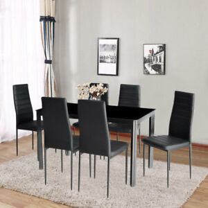 Glass Dining Table Set and with 6 Black Faux Leather Six ...