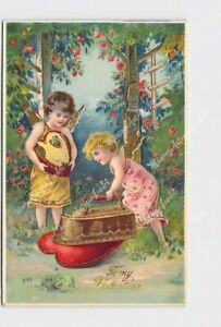 PPC-POSTCARD-VALENTINE-CUPID-CHERUBS-IRONING-HEARTS-GOLD-EMBOSSED