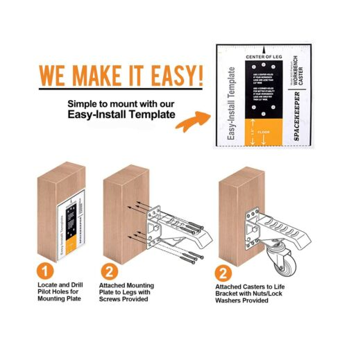 SPACEKEEPER Workbench Casters kit 660 Lbs 4 Heavy Duty Retractable Caster W...