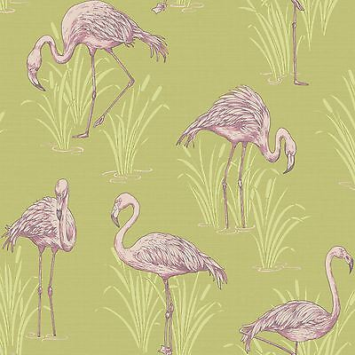LAGOON FLAMINGO WALLPAPER GREEN & PINK - ARTHOUSE VINTAGE 252602