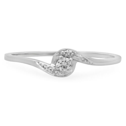 Details about  /0.08 CT 10K White Gold Round Diamond Bridal Promise Bypass Engagement Ring