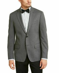 Calvin Klein Mens Blazer Gray Size 40 Short Two Button Slim Fit Notched $295 054