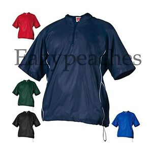 Rawlings Mens S-3XL Short Sleeve 1/4 Zip Baseball Pullover Wind Shirt Jacket Top