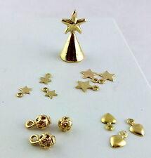 Dolls House Miniature Accessory Christmas Tree Decoration Ornament Set Gold