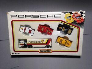 Matchbox-Convoy-Box-Truck-Lorry-Porsche-Racing-Car-Set-911-959-944-MC23