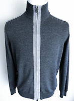 $2475 Brioni Gray Wool With Suede Leather Trim Cardigan Sweater Jacket Size Xl