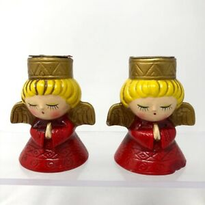Vintage Set Of 2 Angel Red Gold Christmas Candleholders Mid Century Modern