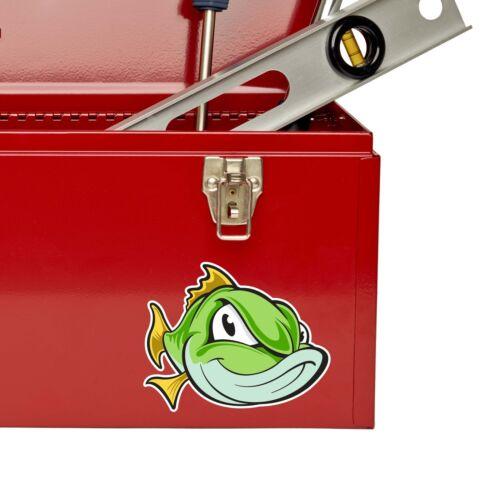 2 X Peces pegatina de vinilo Ipad Laptop Auto Moto Pesca Caja abordar Papá Regalo # 9120