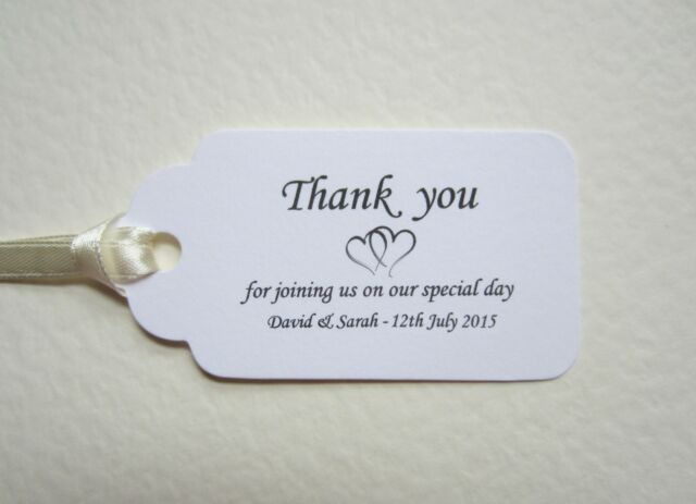 Personalised Wedding THANK YOU Place Cards WHITE Tags Table Guest Favour Gift