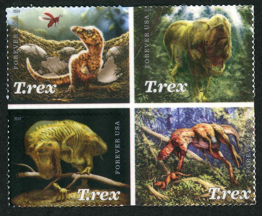 2019 55c Tyrannosaurus Rex, Dinosaur Scott 5410-5413 Bl