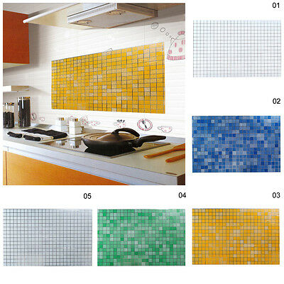 45x70cm Mosaic Aluminum Foil Anti Oil Wall Paper Sticker Kitchen Bathroom Decor