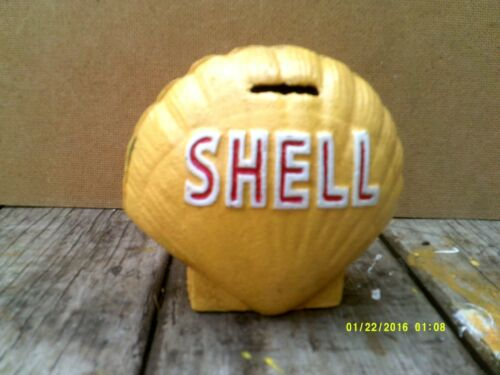 Heavy Cast Metal SHELL MONEY BOX oil petrol Metal GLOBE  Sign  not enamel