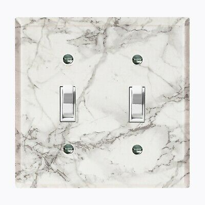Metal Light Switch Cover Wall Plate Black Marble Image Gold Flower Frame FRA006