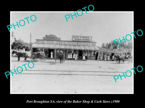 OLD 6 X 4 HISTORIC PHOTO OF PORT BROUGHTON SA, THE CASH STORE & BAKERY c1900