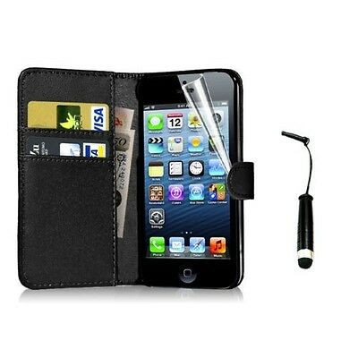 New Wallet Flip Leather Case Cover For Apple iPhone 4 5 5S Free Screen Protector