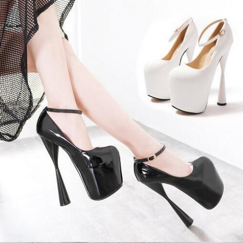 Womens Chunky High Heel 20CM Platform Ankle Strape Pumps Nightclub Shoes Plus Sz