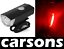 front & rear red tail cob led USB rechargeable bike light lights set kit CARSONS