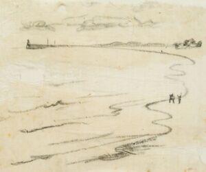 H-WINGLER-1896-Am-Strand-von-Swinemuende-1937-Kohlestiftzeichnung