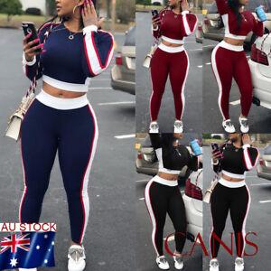 US 2 PCS//Set Women Sports Suit Top Pants Outfit Yoga Workout Clothes Tracksuit