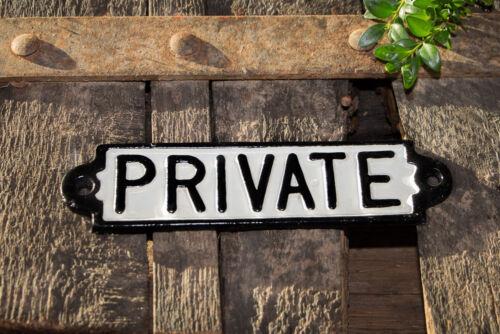 """Vintage escudo hierro fundido /""""private/"""" no hay acceso espacial prohibido el paso"""